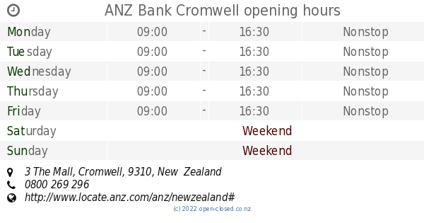 ANZ Cromwell opening hours, 3 The Mall